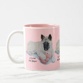 Taza Bicolor Akita con arte rosado del retrato del perro del