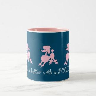 Taza Bicolor Amantes rosados del caniche
