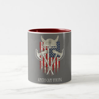 Taza Bicolor Americano Viking. Bandera, apenada, casco, hacha
