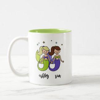 Taza Bicolor Amigo lindo de la sirena púrpura verde de Ashley