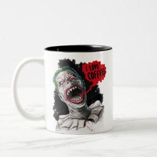 Taza Bicolor Amo al payaso de risa loco del zombi del café