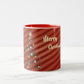 Taza Bicolor Árbol de navidad de la tira del caramelo