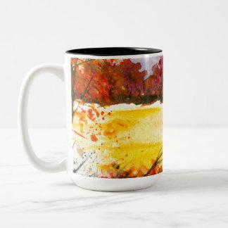 Taza Bicolor Árboles abstractos del otoño del arte del paisaje