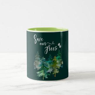 Taza Bicolor Árboles, bosque. Ahorre nuestros árboles.