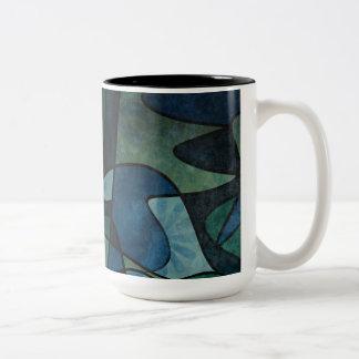 Taza Bicolor Arte abstracto del vitral de Digitaces del trullo