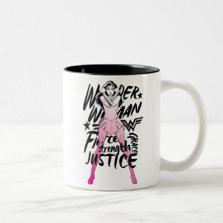 Taza Bicolor Arte de la tipografía del cepillo de la Mujer