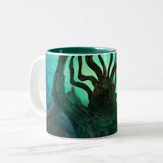 Taza Bicolor Arte del cruzado de Lovecraft Cthulhu Mythos