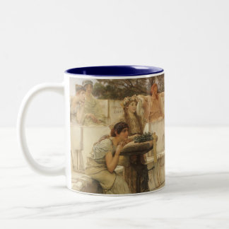 Taza Bicolor Arte, Sappho y Alcaeus del vintage de Alma Tadema