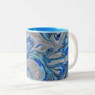 Taza Bicolor Azul de pavo real y extracto veteado plata