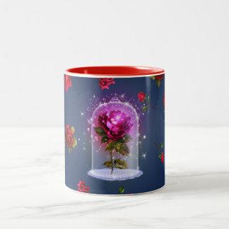 Taza Bicolor Belleza mágica encantada del rosa rojo y la bestia