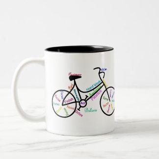 Taza Bicolor Bici de motivación, bicicleta, completando un