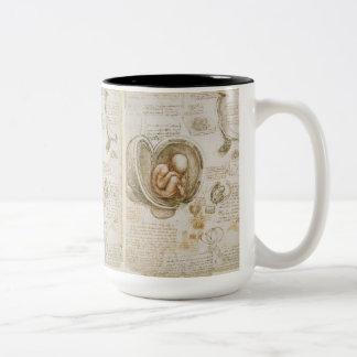 Taza Bicolor Bosquejo del feto de Leonardo da Vinci