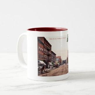 Taza Bicolor Calle principal, vintage de Dover, New Jersey