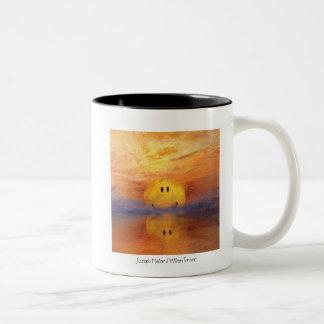 Taza Bicolor Cara feliz de la puesta del sol