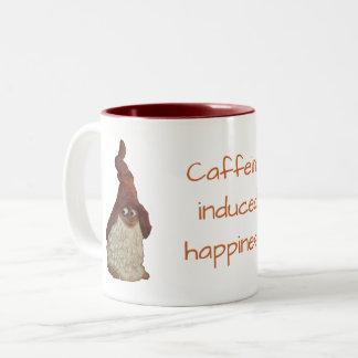 Taza Bicolor Chiste inducido cafeína de la felicidad del gnomo