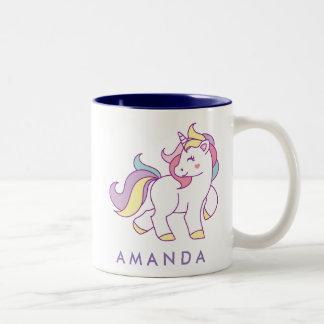 Taza Bicolor Color en colores pastel del unicornio mágico lindo