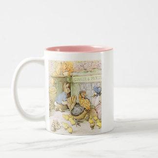 Taza Bicolor Conejo y aves de corral adorables