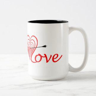 Taza Bicolor Corazón amor blanco con flecha
