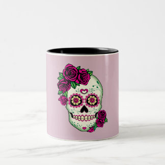 Taza Bicolor Cráneo del azúcar con los rosas