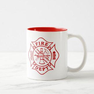 Taza Bicolor Departamento del fuego/taza de la cruz maltesa del