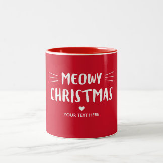 Taza Bicolor Día de fiesta rojo lindo del navidad el   de Meowy