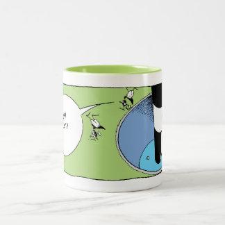 Taza Bicolor Dibujo animado del putt del golf de la hormiga del