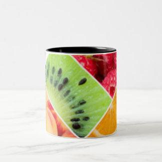 Taza Bicolor Diseño colorido del modelo del collage de la fruta