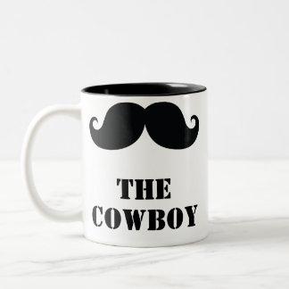 Taza Bicolor El bigote rizado del vaquero divertido