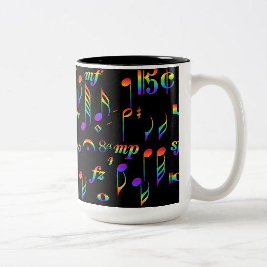 Taza Bicolor El color del arco iris de la música observa el