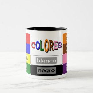 Taza Bicolor el español colorea práctica del vocabulario