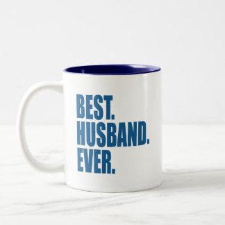 Taza Bicolor El mejor. Marido. Nunca. (azul)