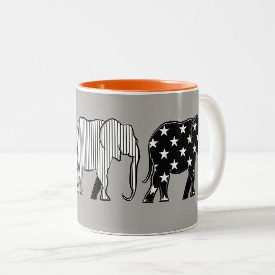 Taza Bicolor Elefantes grises anaranjados del modelo de