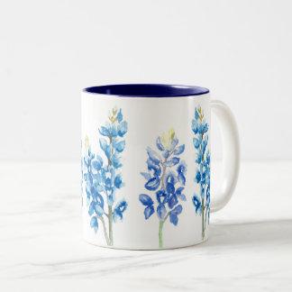Taza Bicolor Flores del Bluebonnet de la acuarela