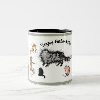 Taza Bicolor gato y gatitos melenudos, el día de padre