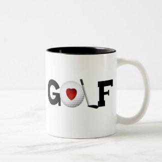 Taza Bicolor Golf con la pelota de golf