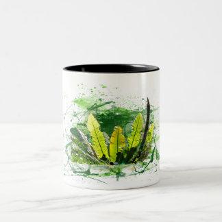 Taza Bicolor Helecho, hojas, jungla, plantada, naturaleza