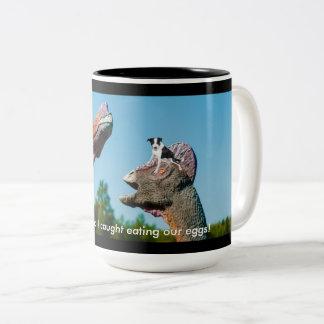 Taza Bicolor Humor del perrito del dinosaurio