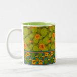 Taza Bicolor Impresión y recorte florales de nasturcio victoria