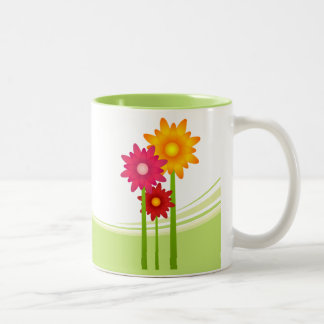 Taza Bicolor Jardín de flores de la abeja y de la margarita
