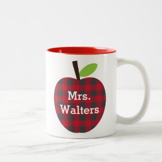 Taza Bicolor La tela escocesa Apple del profesor personalizado