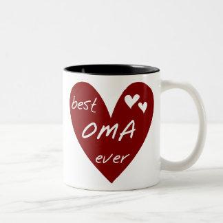 Taza Bicolor Las mejores camisetas y regalos de Oma del corazón