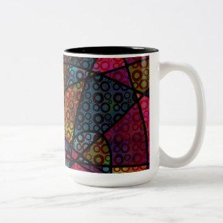 Taza Bicolor Líneas negras y multicolor intrépidos, texturas