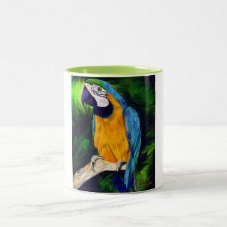 Taza Bicolor Loro azul y amarillo del Macaw
