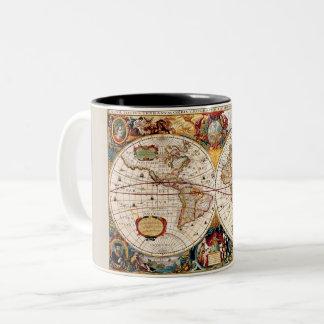 Taza Bicolor Mapa del mundo medieval, histórico antiguo Nova