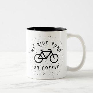 Taza Bicolor Mis funcionamientos del paseo en el café -