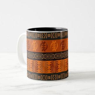 Taza Bicolor Modelo africano étnico con los simbols de Adinkra