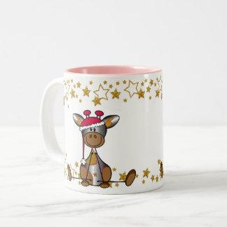 Taza Bicolor Mok kerst Hip en Feestelijk met lief girafje