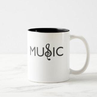 Taza Bicolor Música única de la palabra del diseño- con el clef