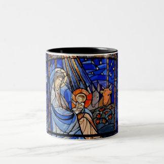 Taza Bicolor Natividad del estilo del vitral