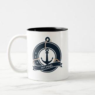 Taza Bicolor Navegación náutica del marinero del ancla